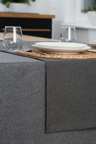 ROLLMAYER abwaschbar Tischläufer Wasserabweisend / Lotuseffekt (Melange Grau 68, 40x120cm) Leinenoptik Tischtuch mit pflegeleicht...