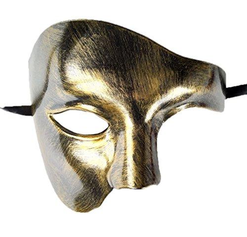 Herren Phantom von Das Oper Maskerade Maske Hälfte Gesicht Jahrgang Römisch Venezianischen Maske (Gold)