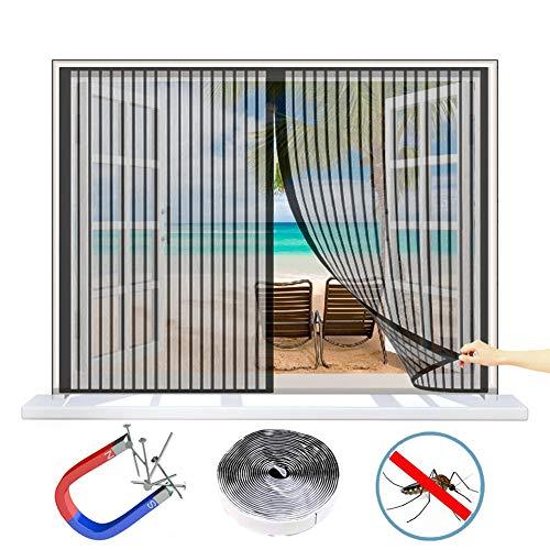 Wiskeo zanzariera finestra avvolgibile magnetica, anti zanzare tenda, cinturino in autoadesivo, tutte le taglie, invisibile, per finestre a battenti - nero 90x140 cm(wxh)