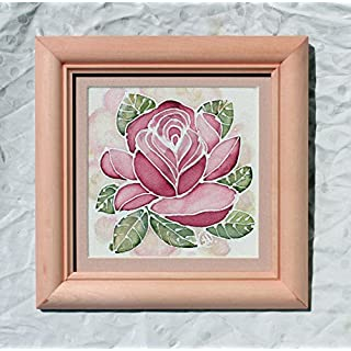 Picture Red Rose Art/Wedding Gift/Wooden Frame/Miniature 6,21/6,21in/Silk Painting Framed/Red Roses Picture/Wall Atr/Flower Artwork for Sale/Silk Gift.