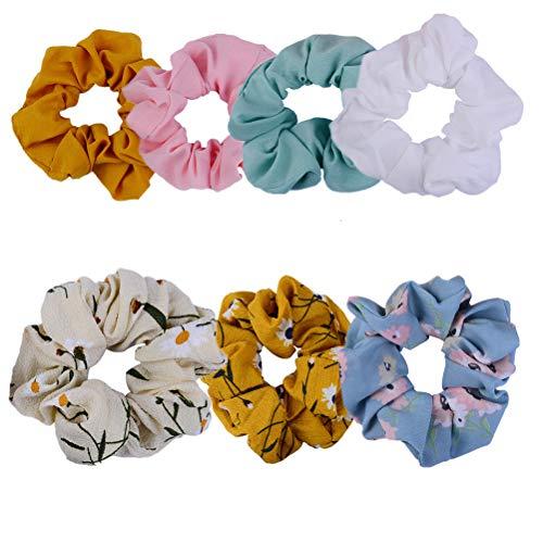 Elastics Chiffon Haar Scrunchies Floral Gummibänder Haargummi Bobbles Pferdeschwanz Inhaber Haarbänder Haargummis Stirnband (7 Stk.)