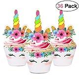 Unomor Einhorn Cupcake Toppers 36 Stücke, Einhorn Kuchen Dekoration für Geburtstag, Party