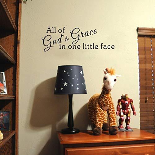 yiyiyaya Liebe Zitate Kunst Wandaufkleber All of God's Grace in einem kleinen Gesicht Vinyl Aufkleber für Kinder 18 * 56 cm