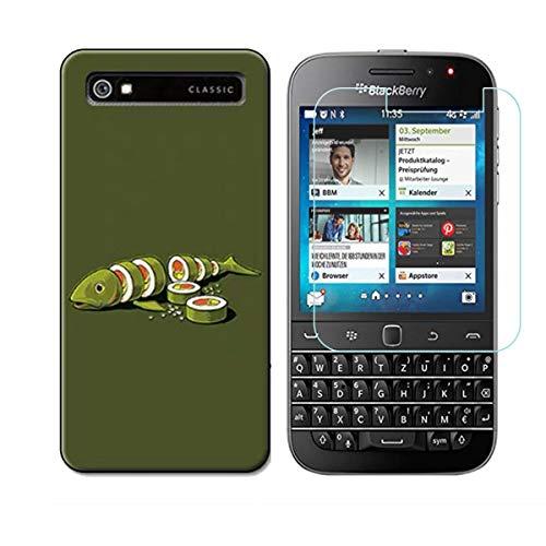 YZKJ Funda para Blackberry Classic Q20 Transparente Carcasa Silicona TPU Suave Caso Case + Protector de Pantalla Cristal Templado Film Película Protectora para Blackberry Classic Q20 - NM16