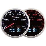 Depo Racing 60mm Pression d'huile fumé 4en 1V jauge de température d'huile Température et d'eau LED