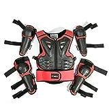 WOSAWE Equipement de Protection Moto pour Enfants, Protecteur de Le Dos et la Poitrine avec Coudières et Genouillères pour Vélo, Ski, Scooter, Planche à roulettes (Style2 Rouge)