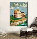 UDIYXC Vintage Travel Poster Rom Poster Leinwanddruck