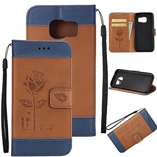Dual Color Matching Premium PU Leder Flip Stand Case Cover mit Card Cash Slots und Lanyard für Samsung Galaxy S6 ( Color : Red ) Brown