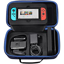 Image of Nintendo Switch Carrying Case, SHareconn Odourless Deluxe Travel Portable Storage Box Hard Shell Holder with 12 Game Cartridge for Nintendo Switch 2017 Console, Gamepad, Charger & Cable (Blue) - Comparsion Tool