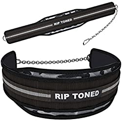 """Dip Belt By Rip Toned - 6"""" Weight Lifting Pull Up Belt With 32"""" Heavy Duty Steel Chain & Bonus Ebook - For Powerlifting, Xfit, Bodybuilding, Strength & Training - Lifetime Replacement Warranty ... (Gray Camo)"""
