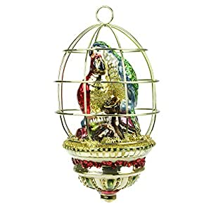 Luxury hand painted christmas decoration birdcage with parrots 16cm kitchen - Luxury homes decorated for christmas model ...