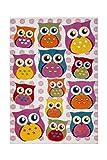 Teppich Kinderzimmer Carpet Kinderteppich Mädchen Design Australia - Dubbo RUG Eulen Muster Polypropylen 120x170 cm Mehrfarbig / Teppiche günstig online kaufen