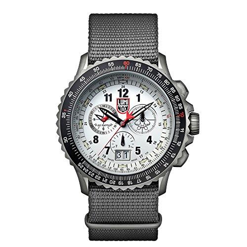 Luminox F-22 RAPTORTM Chronograph Men's Quartz watch with White dial featuring LLT Luminox light Technology 45 millimeters Titanium case and Black Nylon Strap XA.9249