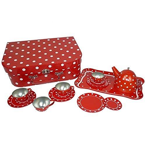 Holzspielzeug Peitz Picknickkoffer | Kinder-Teeservice | Kinder-Kaffeeservice | Metall rot mit weissen Punkten Picknickkoffer | Teller | Tassen | Tablett