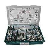 Sortiment M8 DIN 912 Edelstahl A2 (V2A) Zylinderschrauben (Innensechskant) - Set bestehend aus Schrauben, Unterlegscheiben (DIN 125, 127, 9021) und Muttern (DIN 934, 985) - 340 Teile