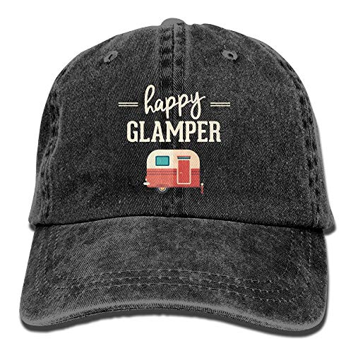 itruty Happy Camp Happy Glamper Vintage Washed Dyed Cotton Twill Low Profile Adjustable Baseball Deckel Black -