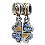 1 Pair Mother and Son Heart Charm Solid 925 Sterling Silver Lucky Clover with Sapphire Crystal Dangle Beads