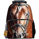 Fantec Mochila escolar, incluye bolsillo de tela de fieltro, diseño 3D animal, ideal para senderismo o la vida diaria, 40,64 cm caballo