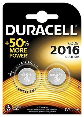 Duracell Specialty 2016 Lithium-Knopfzelle 3V, 2er-Packung (CR2016/DL2016) entwickelt für die Verwendung in Schlüsselanhängern, Waagen, Wearables und medizinischen Geräten.