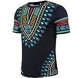 Longra T-Shirt Herren Kurzarm Shirt Slim Fit T-Shirt Bohemia Printed Muscle T-Shirt Casual Tops Bluse Unisex Dashiki - Traditionelles Oberteil Männer Afrikanischen Hippie - Vintage Hemd (M, Blue)