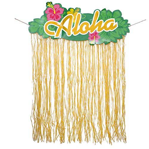Amosfun - Tenda in Rafia Hawaiana per Porta, Decorazione per Feste, 130 x 107 cm