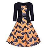 MERICAL Halloween Kleid Damen Vintage Print 3/4 Ärmel Halloween Abend Party Swing(EU:36/CN:M,Orange-A)