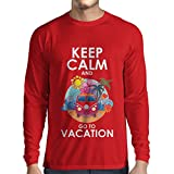 N4442L Camiseta de Manga Larga Keep Calm and Go to Vacation (X-Large Rojo