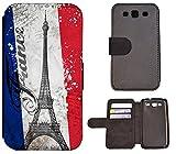 Flip Cover Schutz Hülle Handy Tasche Etui Case für (Samsung Galaxy S3 Neo, 1178 Paris Eifelturm Frankreich Blau Weiß Rot)