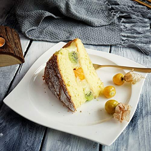 LI plaque- Vaisselle en forme de S en céramique blanche pure - Assiette de fruits à dessert Western Cake (1 emballage) tableware (taille : L)