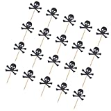 #9: MagiDeal 20 Pieces Handmade Baking Skull Cupcake Toppers Food Picks for Party Decor - black, 6 x 5cm