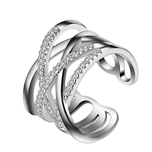 AIUIN Silberring,Mode Drei Schichten Diamant Silber Offener Ring Schmuck Zubehör für Freunde,Liebhaber Geschenk,Einstellbare Größe,Mit Einer Schmucktasche