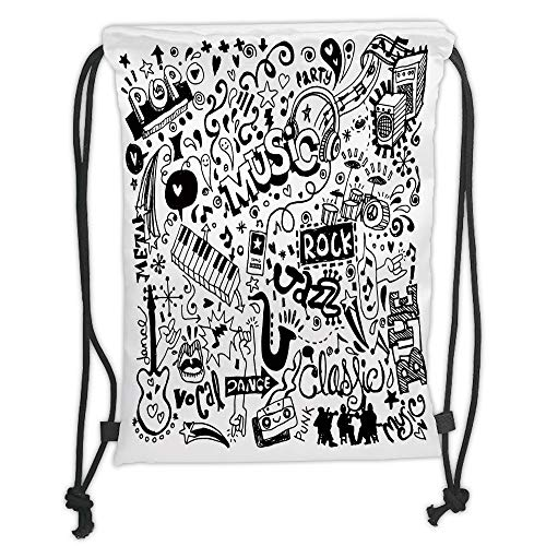 OQUYCZ Drawstring Sack Backpacks Bags,Doodle,Music Collection with an Abstract Drawing Rock Jazz Blues Metal Classic Dancing,Black White Soft Satin,5 Liter Capacity,Adjustable String Closure,T - Eagles Black Metal