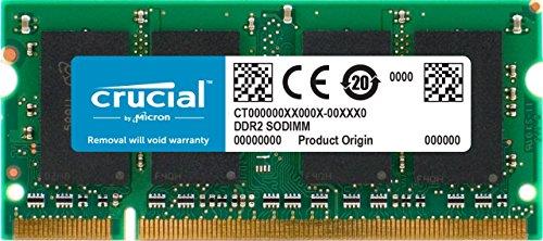 Crucial CT25664AC667 2 GB Speicher (DDR2, 667MHz, PC2-5300, SODIMM, 200-Pin) - Ddr2-speicher