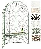CLP Eisen-Gartenbank Rosie mit Überdachung | Bank mit 2 Sitzplätzen | Dekorativer bepflanzbarer Gartenpavillon mit Bank | Eisen-Laubenbank | In verschiedenen Farben erhältlich Antik Grün