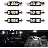 XCSOURCE® 6 x Bombilla Luz Interior de Coche 5050 SMD LED 42MM Auto-Dome Canbus Festón Lámpara Blanco LD308