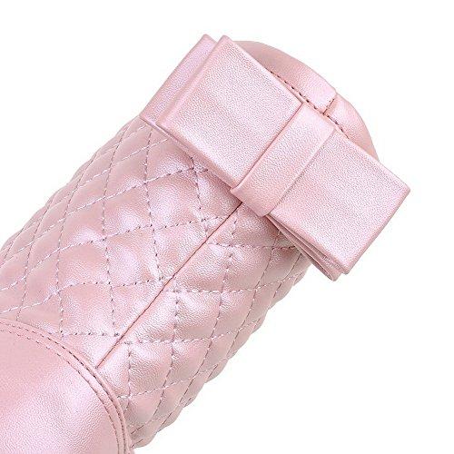 AllhqFashion Damen Ziehen Auf Rund Zehe Mittler Absatz Niedrig-Spitze Stiefel mit Schleife Pink