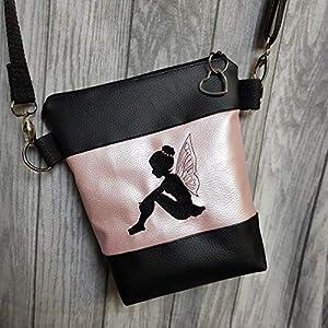 Handtasche Fee Glitzer Umhängetasche Kunstleder Glitzertasche Fee Tasche mit Anhänger Feeanhänger