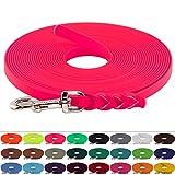 Schleppleine aus 19 mm breiter BioThane, Neon Pink, 12m lang, Geflochten, 25 Farben, 1-30 Meter Länge