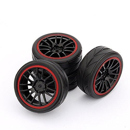 Yosoo Huhushop(Tm) 4Pcs Rc Racing Rubber Tires Fit Hsp Hpi 9068-6081 1/10 Car On Road Wheel Rim