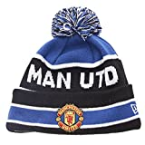 Manchester United Cuff Bobble Football Beanie - Black/Royal Blue - size One Size