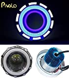 #5: Pivalo Projector Lamp High Intensity LED Headlight Stylish Dual Ring COB Inside Double Angel's Eye Ring Lens Projector For - All Bikes (White & Blue)
