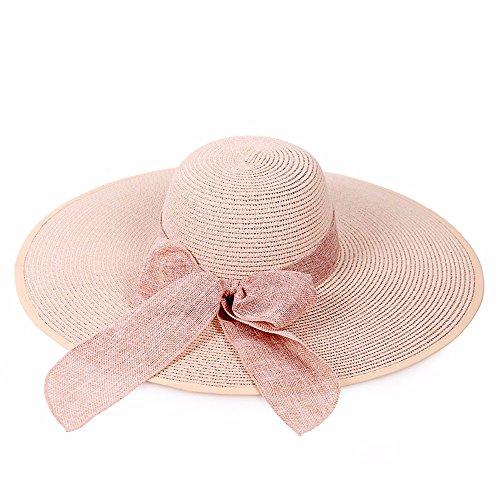LOF-fei Donna Verano Sombrero para El sol la Playa Ala ancha plegable  Sombrero de 73c69046fc3