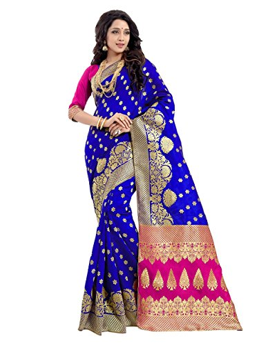 Sarees (Women's Blue Banarasi Silk Saree with Blouse Piece Banarasi Work Saree)