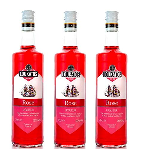 3x700ml Rosenlikör Loukatos 20% Likör Rose aus Griechenland - Rosen Liqueur Schnaps 3er Set + 10ml kretisches Olivenöl zum testen