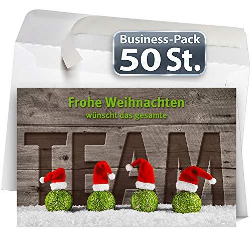Weihnachtskarten Team mit Umschlag, Set: 50 Stück hochwertige Klappkarten (Querformat 19x12 cm groß) & Umschläge, perfekt für originelle Grüße an Firmen-Kunden, Geschäfts-Partner, Lieferanten