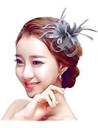 Kapmore flor de la pluma de Fascinator ramillete broche pinza de pelo de la fiesta del té Derby accesorio de la boda
