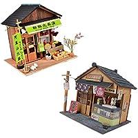 P Prettyia 2 Piezas Miniatura Casa de Muñecas con LED Decoración y Muebles ...
