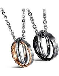 50614b5a3f53 Daesar Joyería 2 Piezas Acero Inoxidable Colgante Collar Hombre y Mujer