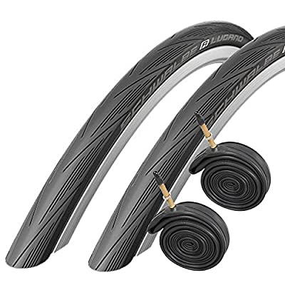 Schwalbe Lugano 700c x 25 Road Racing Bike Tyres and Tubes (with Puncture Protection) - Black x 2 from Schwalbe