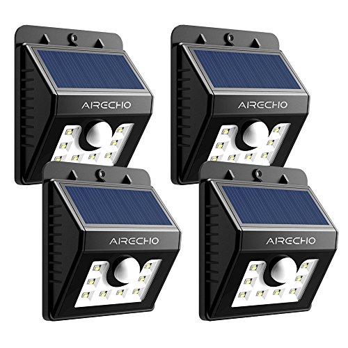 AirEcho Energiesparlampe 3-in-1 Wireless automatisch Licht Solar-Bewegungssensor Licht mit 3 Intelligente Modi für Garten, im Freien, Zaun, Terrasse, Deck, Garten, Haus, Auffahrt, Treppen, Außenwand usw. (4 pack)